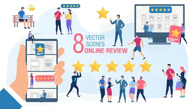 Przegląd online klienta płaski wektor zestaw koncepcji Premium Wektorów