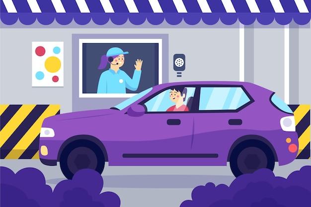 Przejazd Przez Ilustrację Płaska Konstrukcja Okna Premium Wektorów