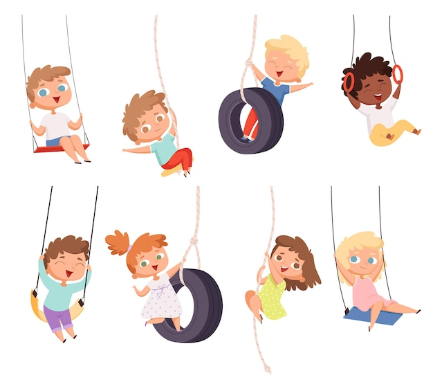 Przejażdżki Na Huśtawce. ćwiczenia Gimnastyczne Dzieci Na Linowej Atrakcji Rozrywkowej Happy Kids Set. Premium Wektorów
