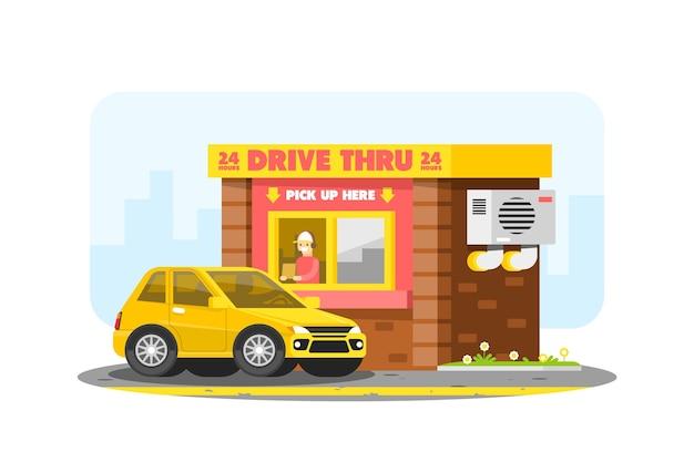 Przejedź Przez Okno Samochodem I Pracownikiem Darmowych Wektorów