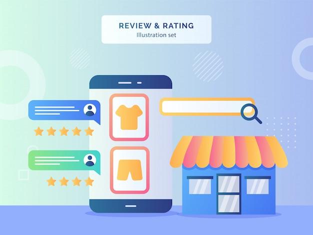 Przejrzyj Opinię Dotyczącą Koncepcji Oceny, Ocenę Opinii Klientów Na Wyświetlaczu Odzieży W Tle Ekranu Smartfona Sklepu Fasadowego Z Płaskim Stylem Premium Wektorów