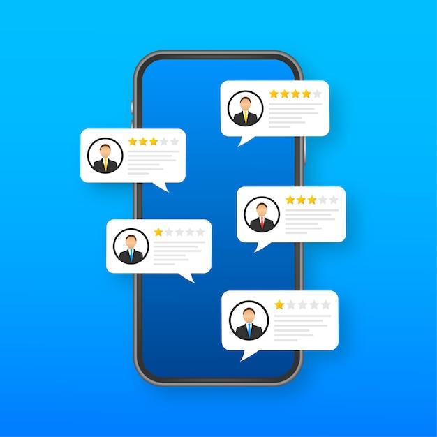 Przejrzyj Przemówienia Bąbelkowe Na Telefon Komórkowy, Recenzje Smartfonów W Stylu Płaskich Z Dobrą I Złą Oceną I Tekstem Premium Wektorów