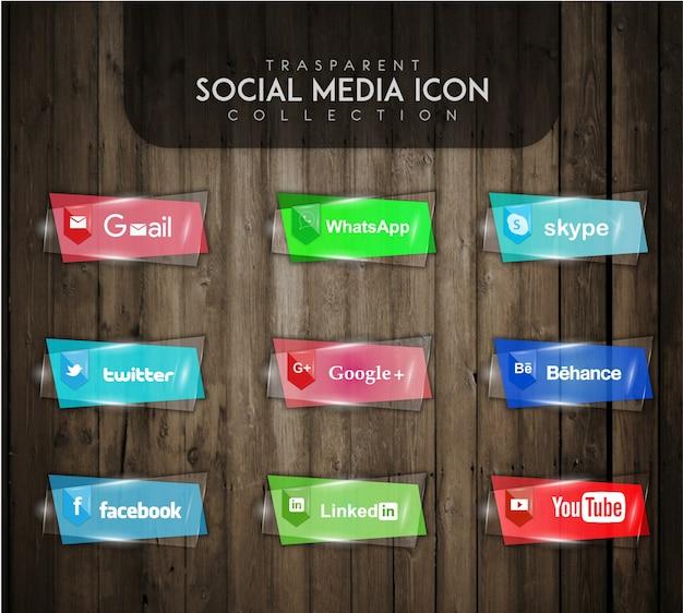 Przejrzysta kolekcja ikon społecznościowych Darmowych Wektorów