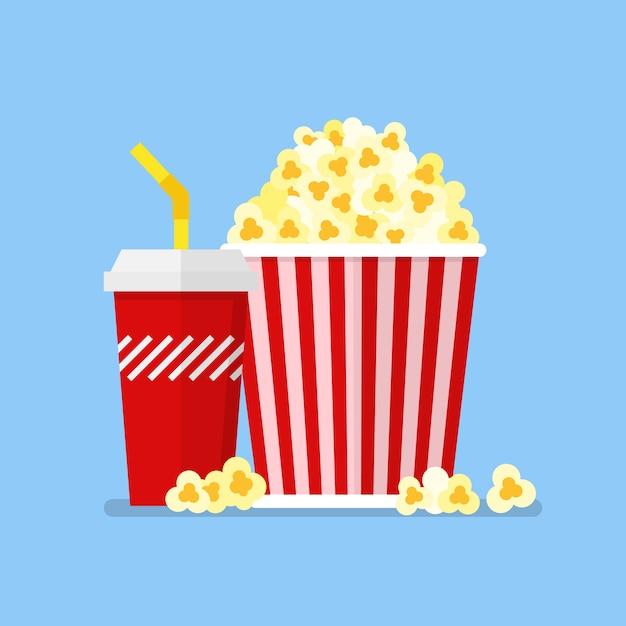 Przekąska I Napój Popcorn W Stylu Płaski | Premium Wektor