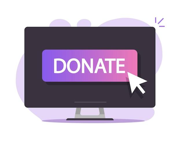 Przekaż Przycisk Online Na Obrazie Ikony Na Ekranie Komputera Premium Wektorów