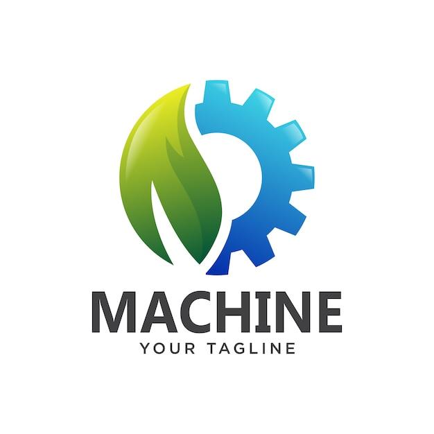 Przekładnia Logo Maszyny Liść Gradient Somple 3d Premium Wektorów