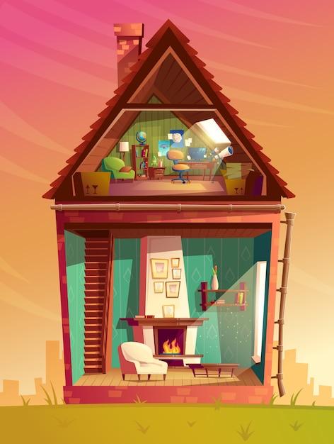 Przekrój wnętrza domu, pokój zabaw dla dzieci kreskówki na poddaszu z meblami Darmowych Wektorów