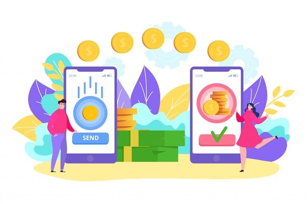Przelew Online, Postać Z Kreskówki Małego Mężczyzny Za Pomocą Aplikacji Na Smartfona, Wysyłaj Szybką Monetę Transakcyjną Do Kobiety Premium Wektorów