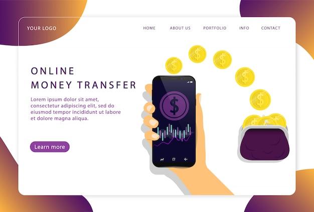 Przelew Online. Usługa Mobilna. Wstęp. Nowoczesne Strony Internetowe Dla Stron Internetowych. Premium Wektorów