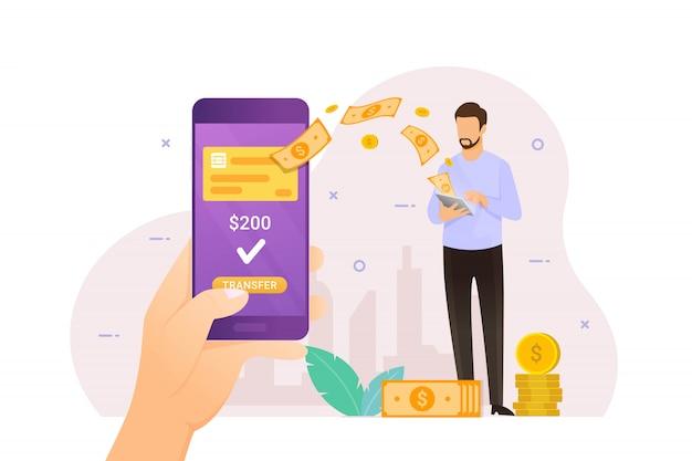 Przelew Online Za Pomocą Bankowości Mobilnej Premium Wektorów