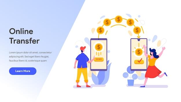 Przelew Online Za Pomocą Telefonu Komórkowego Premium Wektorów