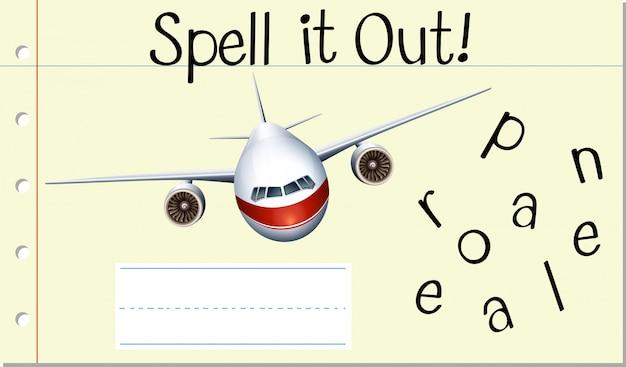 Przeliteruj Angielskie Słowo Samolot Darmowych Wektorów