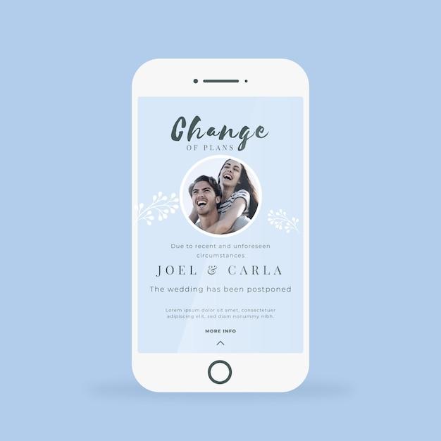Przełożone Ogłoszenie ślubne Dla Formatu Telefonu Komórkowego Premium Wektorów