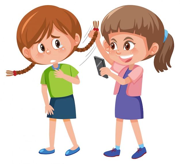Przemoc Domowa Z Dzieciakiem Znęcać Się Inny Na Białym Tle Premium Wektorów