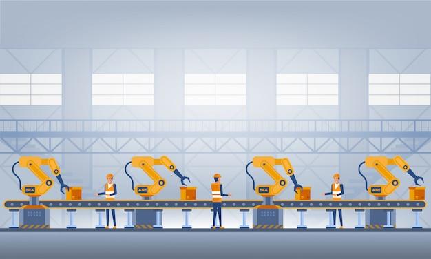 Przemysł 4.0 koncepcja inteligentnej fabryki. ilustracja technologii Premium Wektorów