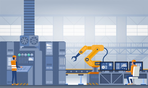 Przemysł 4.0 Koncepcja Inteligentnej Fabryki. Ilustracja Wektorowa Technologii Premium Wektorów