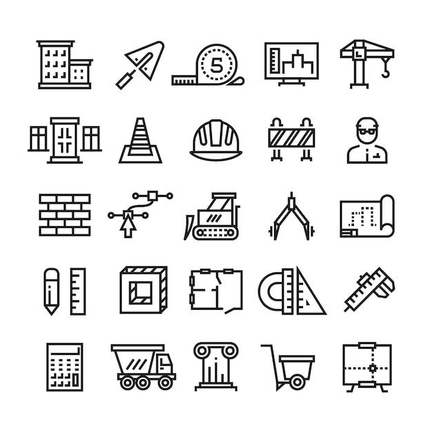 Przemysł budowlany, budowa domu, inżynieria architektoniczna i maszyny ikony cienka linia Premium Wektorów