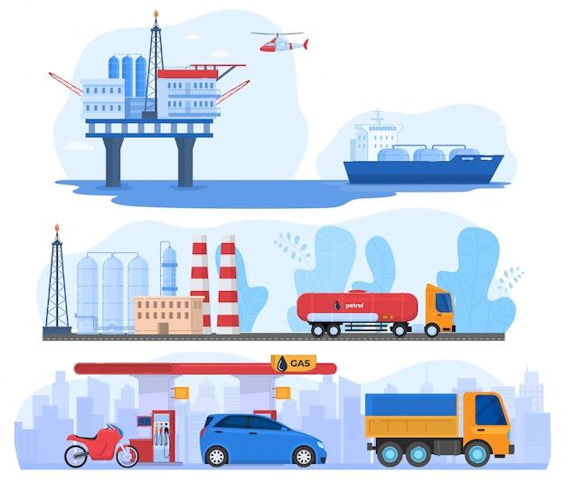 Przemysł Naftowy I Gazowy, Stacja Przetwarzania I Logistyka Dystrybucja Transportu, Ilustracja Premium Wektorów