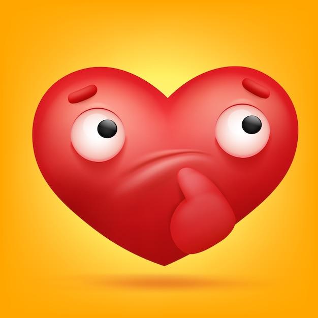 Przemyślane Ikona Kreskówka Serce Emoji. Premium Wektorów