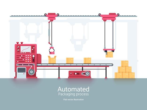Przemysłowa maszyna pakująca z linią produkcyjną przenośnika Premium Wektorów