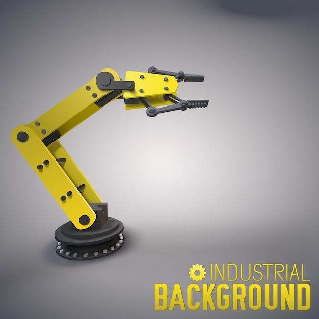 Przemysłowe Tło Z 3d Ramieniem Robota Darmowych Wektorów