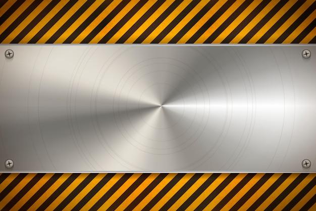 Przemysłowe Tło Z Metalową Pustą Płytą Na Zużyty Wzór Ostrzegawczy W Czerwone I Białe Paski Premium Wektorów