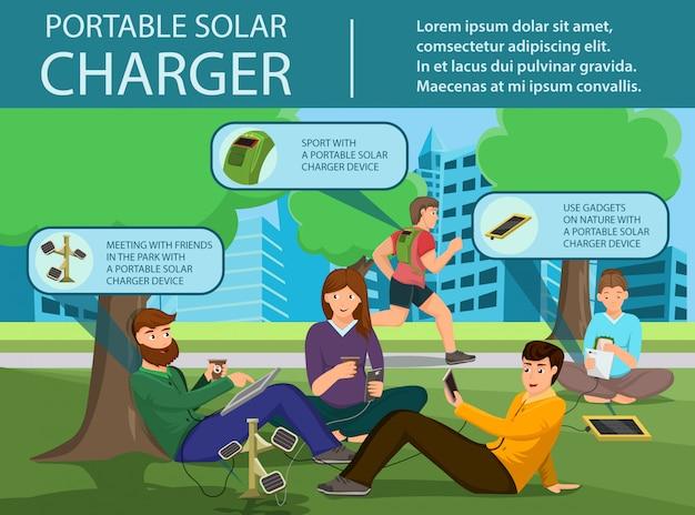 Przenośna ładowarka słoneczna Premium Wektorów
