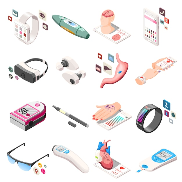 Przenośne ikony izometryczne elektroniki Darmowych Wektorów