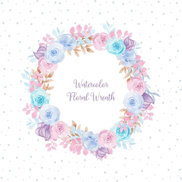 Przepiękna Akwarela Ramka Z Kolorowymi Kwiatami Premium Wektorów