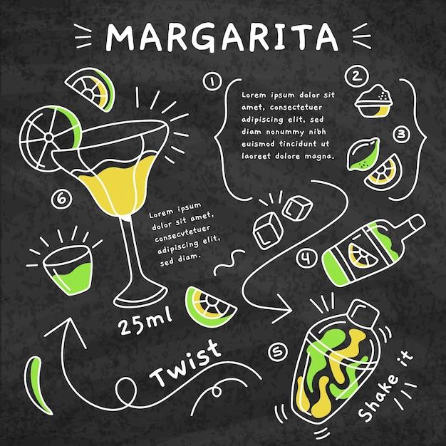 Przepis Na Koktajl Margarita Z Tablicy Darmowych Wektorów