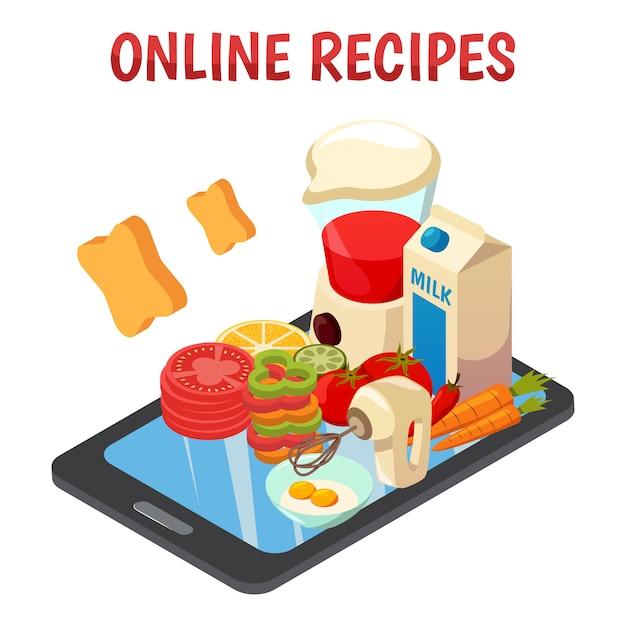 Przepisy Kulinarne Online Izometryczny Darmowych Wektorów