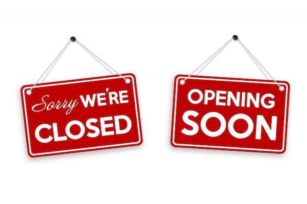 Przepraszamy, Jesteśmy Zamknięci I Wkrótce Otwieramy Drzwi Znak Na Białym Tle. Premium Wektorów