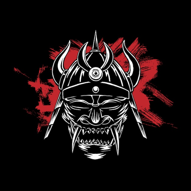Przerażająca maska samurajska, ciemne tło Premium Wektorów