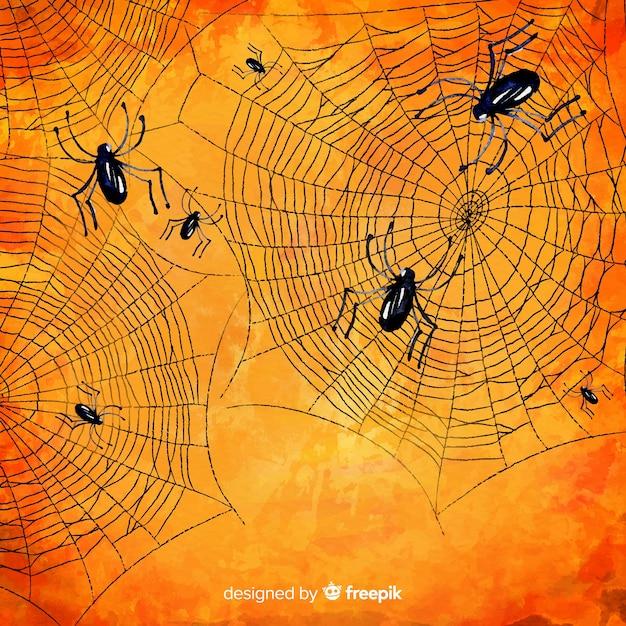 Przerażająca pajęczyna z pająka halloween tłem Darmowych Wektorów