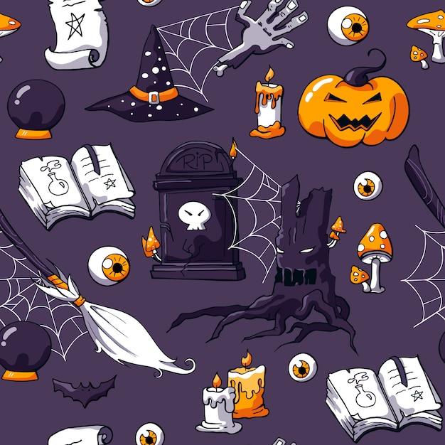 Przerażający Bezszwowy Halloweenowy Doodle Wzór Z Magicznymi Rzeczami Premium Wektorów