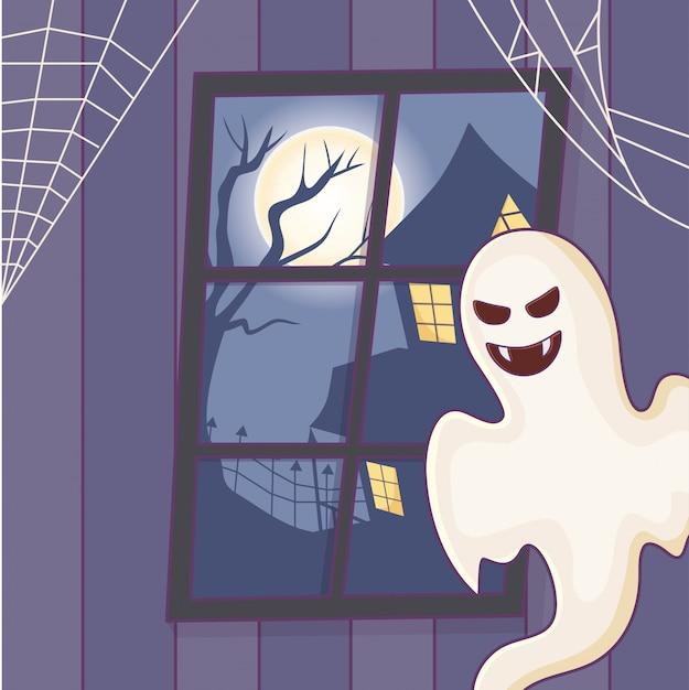 Przerażający Ducha Domu Księżyc Noc Halloween Premium Wektorów