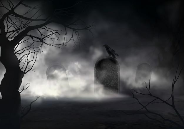 Przerażający halloweenowy realistyczny tło Darmowych Wektorów