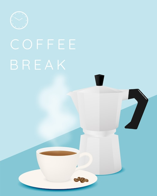 Przerwa Na Kawę Tło Z Filiżanką Kawy I Pastelową Kolorystyką Premium Wektorów