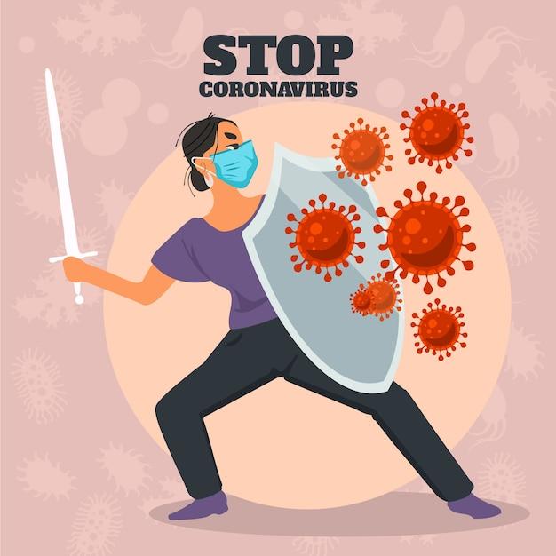 Przestań Koncepcja Koronawirusa Darmowych Wektorów