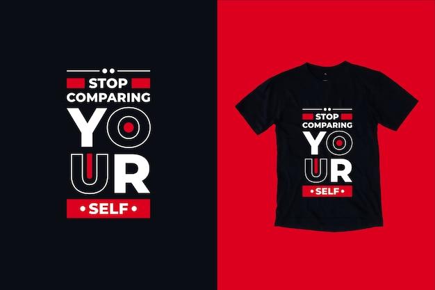 Przestań Porównywać Się Z Cytatami Z Projektu Koszulki Premium Wektorów