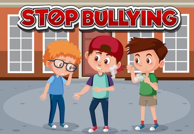 Przestań Projektować Czcionki Przemocy Domowej Z Paleniem Chłopców Premium Wektorów