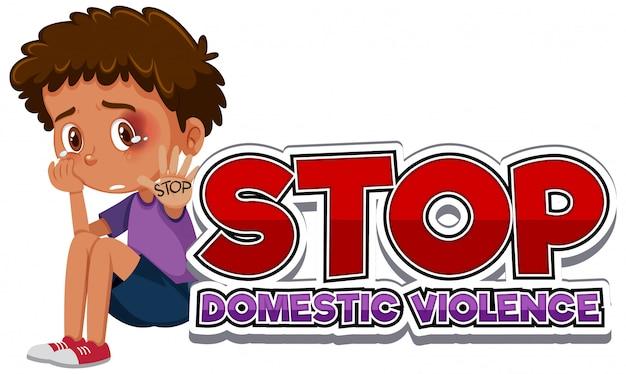 Przestań Projektować Czcionki Przemocy Domowej Z Płaczącym Chłopcem Premium Wektorów