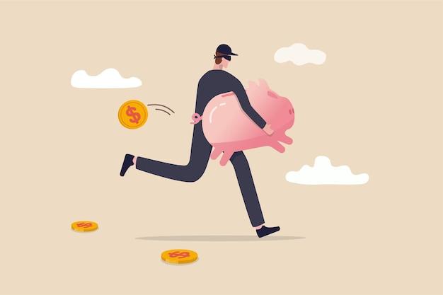 Przestępczość Finansowa, Kradzież Ilustracja Koncepcja Pieniędzy Premium Wektorów