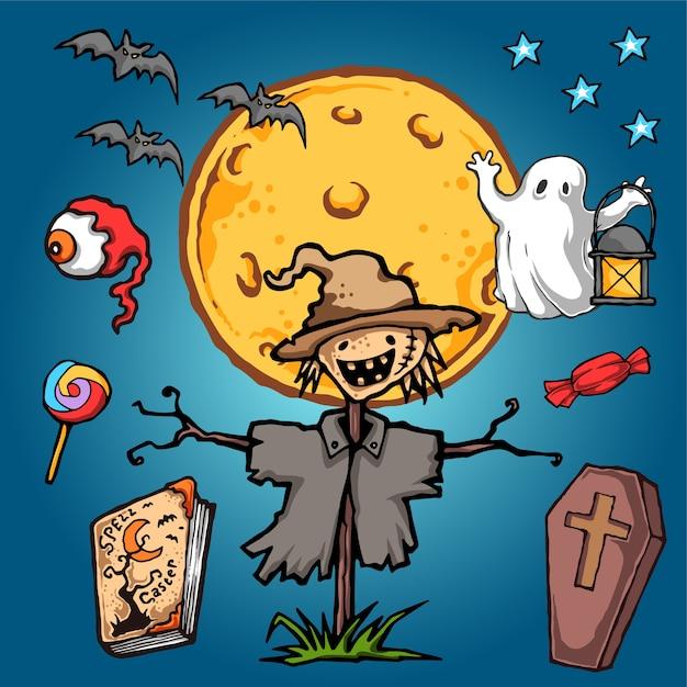 Przestraszyć Korona Halloween Vector Illustration Premium Wektorów