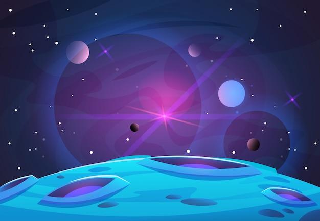 Przestrzeń I Planeta Tło. Powierzchnia Planet Z Kraterami Gwiazd I Komet W Ciemnej Przestrzeni Premium Wektorów