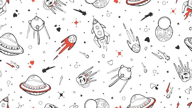 Przestrzeń Wzór. Wektor Dzieci Tekstura Z Rakietą Bazgroły, Planety, Gwiazd. Kosmos, Rakieta Ilustracja Wszechświata I Gwiazda Planety, Asteroida Premium Wektorów