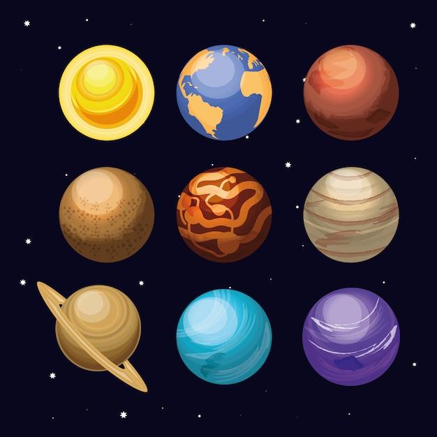 Przestrzeń Z Zestawem Scen Wszechświata Planet Premium Wektorów
