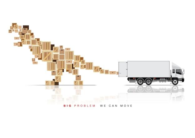 Przesuń skrzynię ciężarówką Premium Wektorów