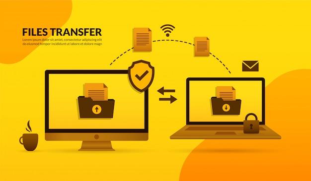 Przesyłanie Plików Między Komputerem Stacjonarnym A Laptopem Premium Wektorów