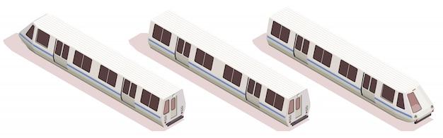 Przewieziony Isometric Skład Z Trzy Metrami Odizolowywającymi Na Białym Tle 3d Darmowych Wektorów
